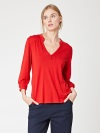 Thought Bly Bamboo Jersey Button Blouse - Poppy Red